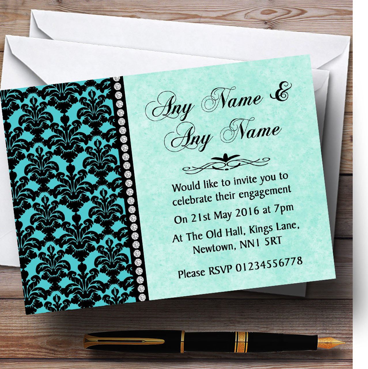 Banners, Buntings & Garlands Black White Damask Shabby Chic Vintage Personalised Engagement Party Bunting Celebrations & Occasions