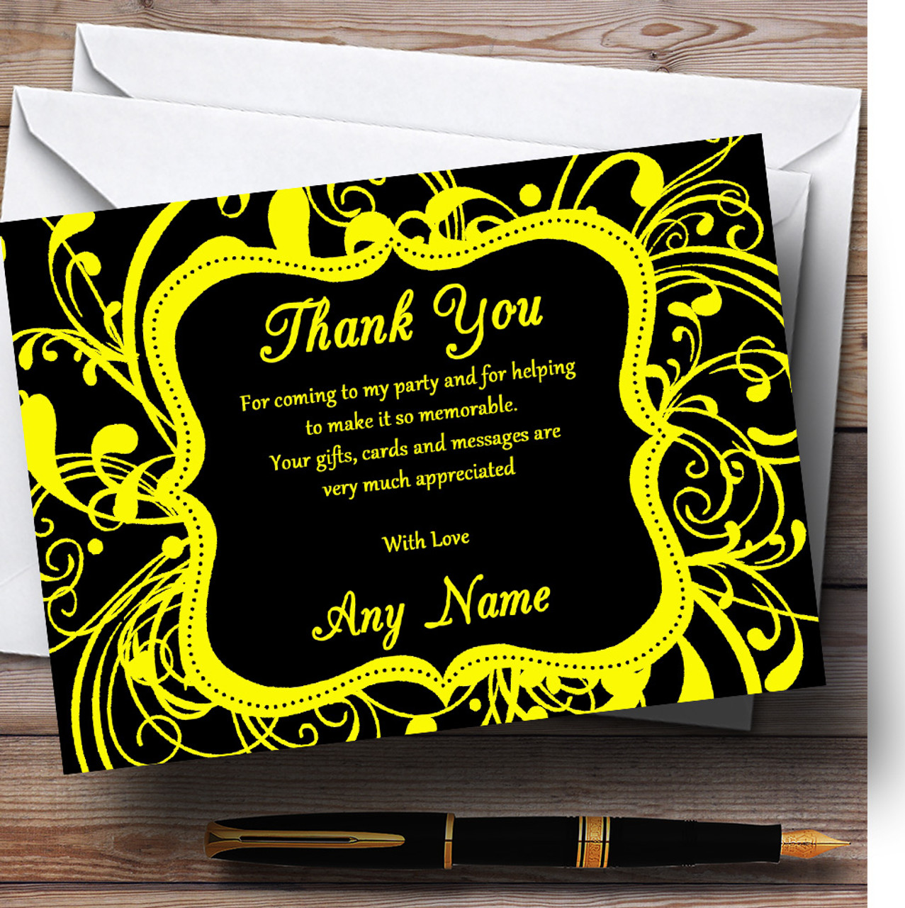 Black /& Red Swirl Deco Personalized Birthday Party Thank You Cards