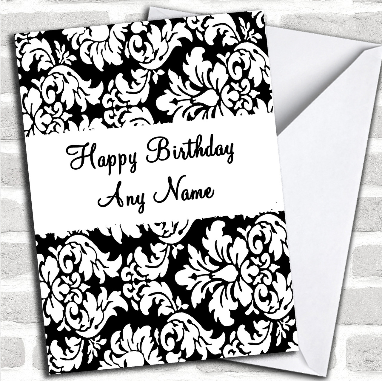 Deep Red White Black Damask Personalised Birthday Party Bunting