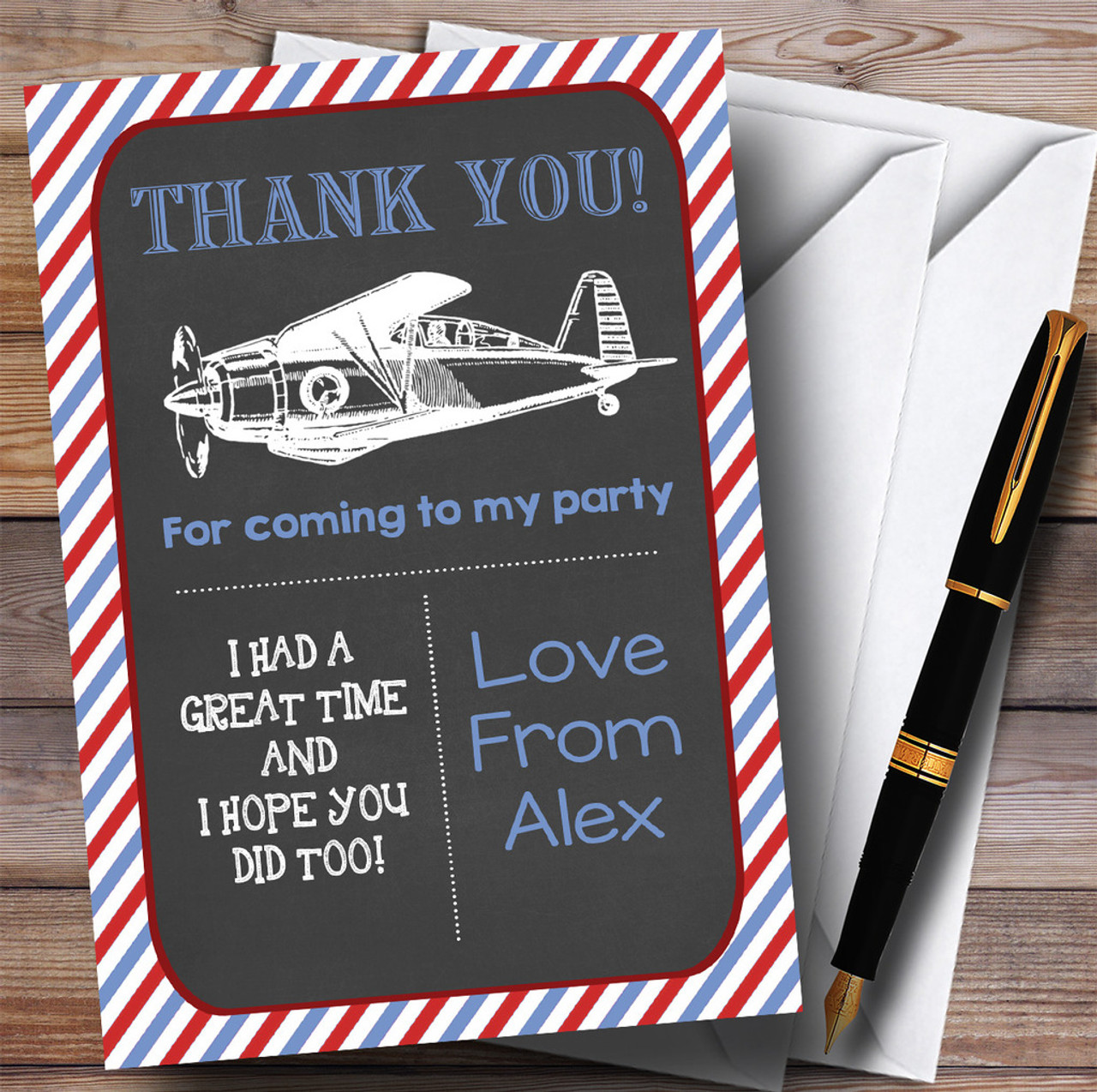 Red Vintage Air Force Aeroplane Party Thank You Cards