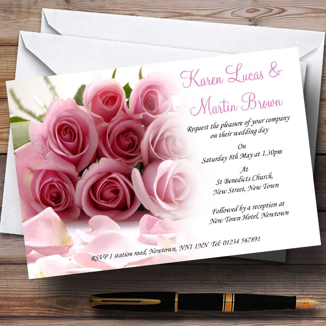 Personalized Wedding Invitations.Baby Pink Roses Personalized Wedding Invitations