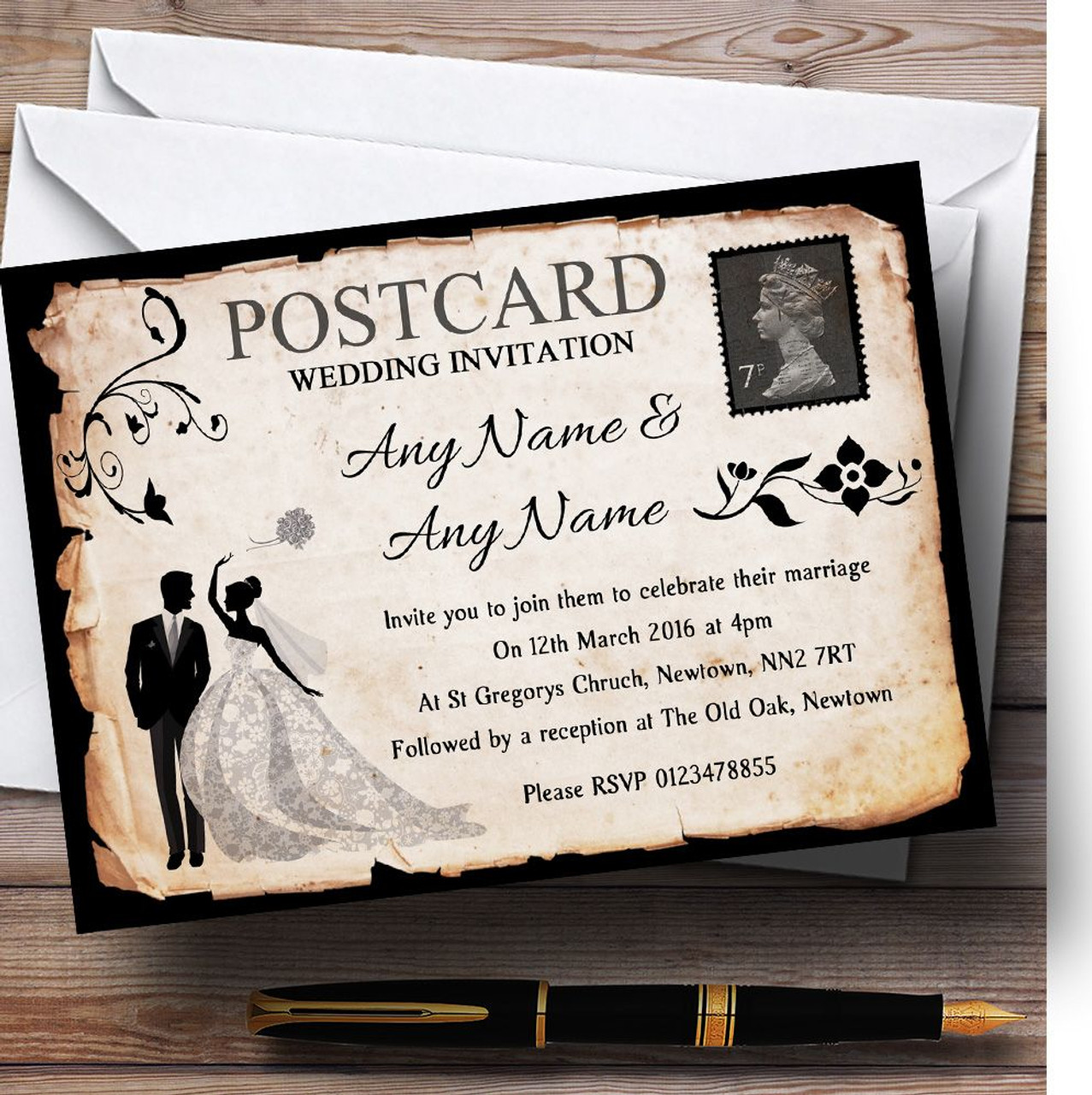 Black White Vintage Rustic Postcard Personalized Wedding Invitations
