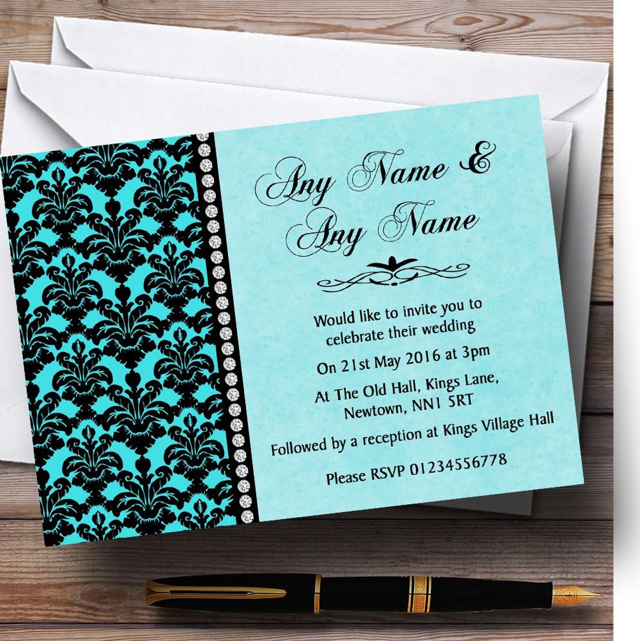 Aqua Sky Blue Black Damask & Diamond Personalized Wedding Invitations - Red  Heart Print