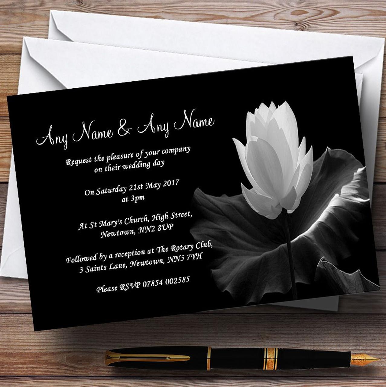 Beautiful Black White Flower Personalized Wedding Invitations