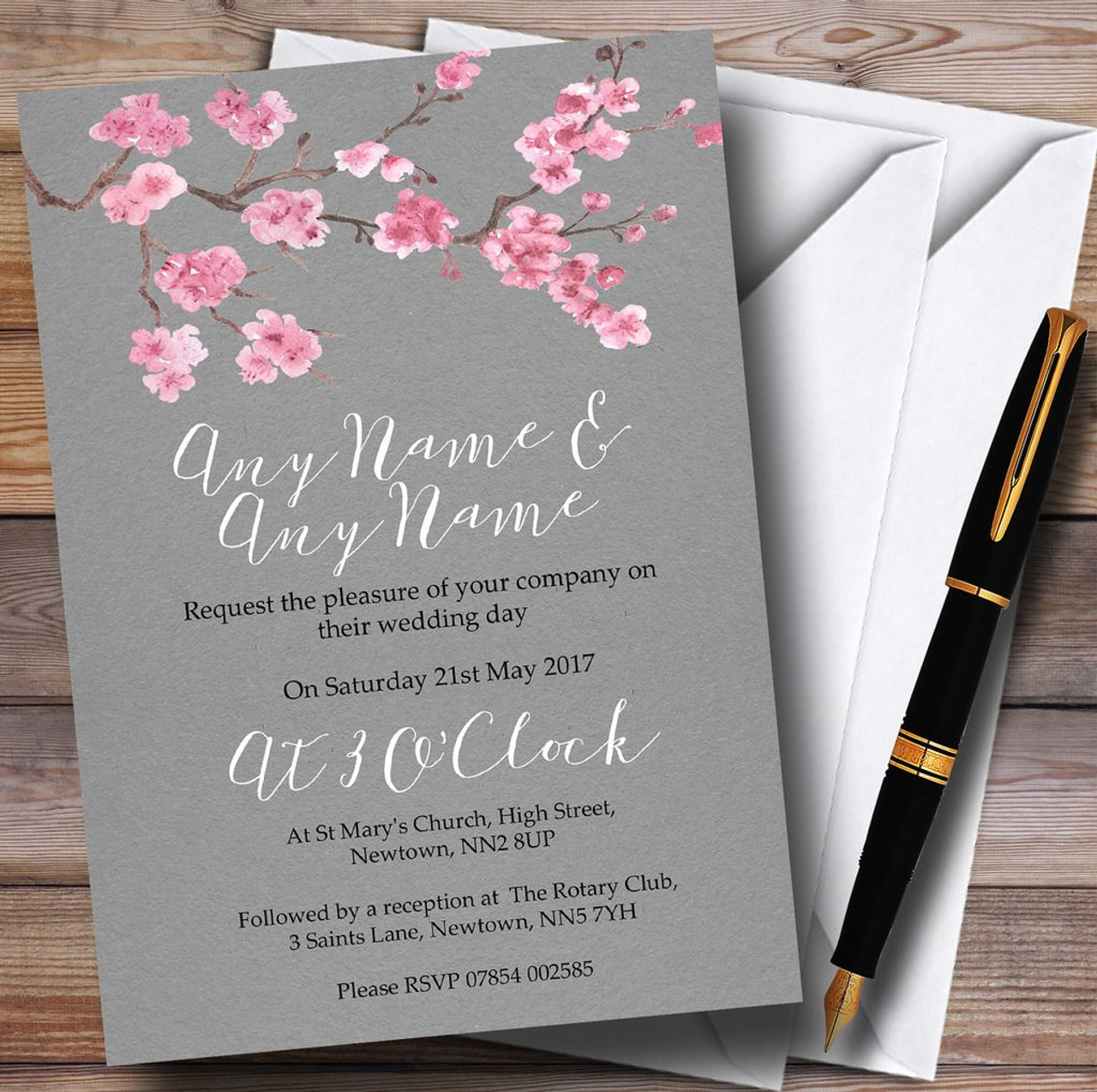 Rustic Vintage Dark Grey & Pink Blossom Personalized Wedding Invitations -  Red Heart Print