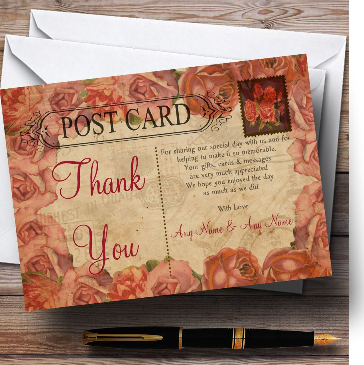Shabby Chic Vintage Postcard Rustic Coral Rose Stamp Personalized Wedding  Thank You Cards - Red Heart Print