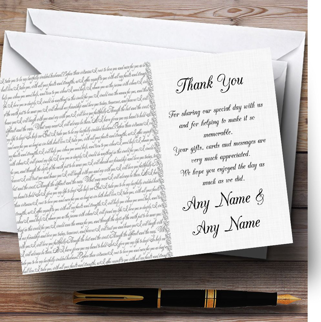 Off White Love Vows Romantic Script Personalised Wedding Order Of The Day Cards