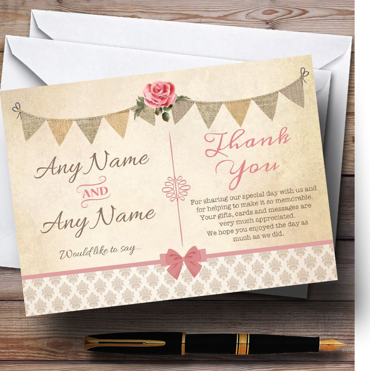 Vintage Rustic Style Bunting Pink Rose Personalized Wedding Thank You Cards  - Red Heart Print