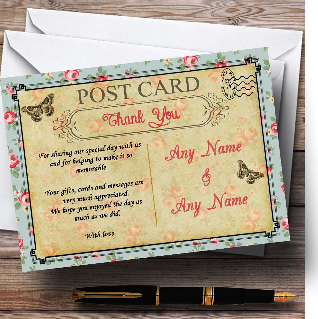 Blue Pink Floral Vintage Paris Shabby Chic Postcard Personalized Thank You  Cards - Red Heart Print