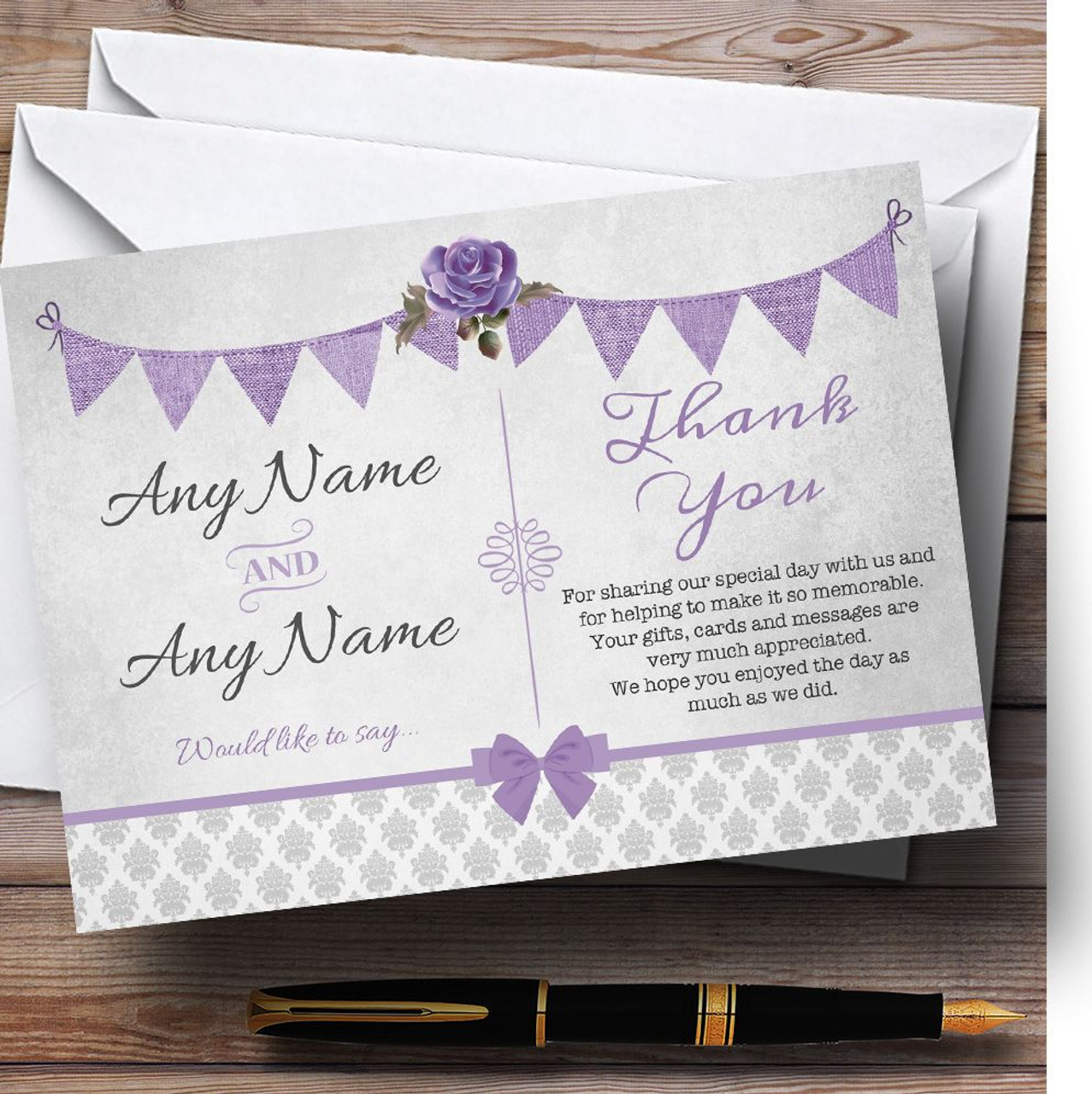 Vintage Rustic Style Bunting Purple Silver Personalized Thank You