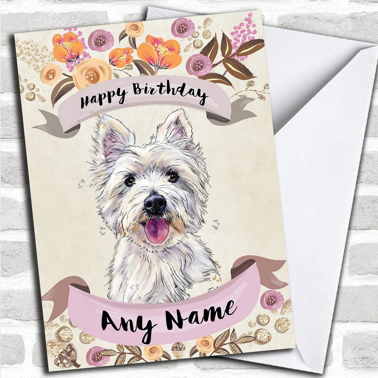 Rustic Gold Dog Westie West Highland Terrier Personalized Birthday
