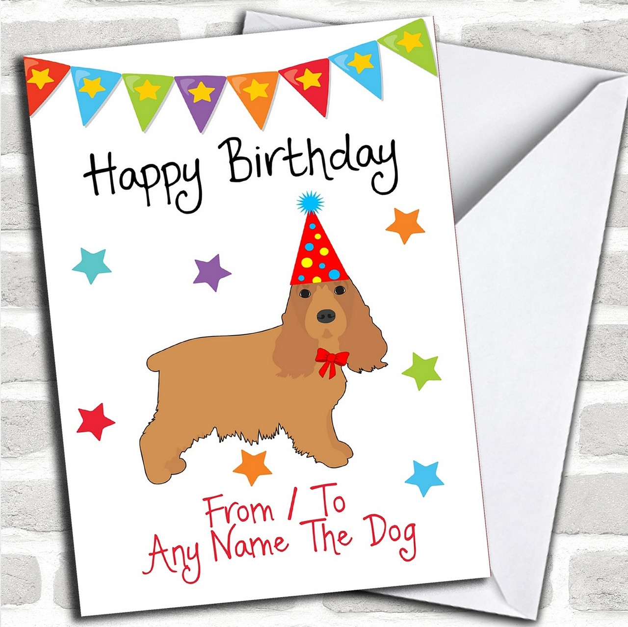 To From Dog Cocker Spaniel Personalized Birthday Card