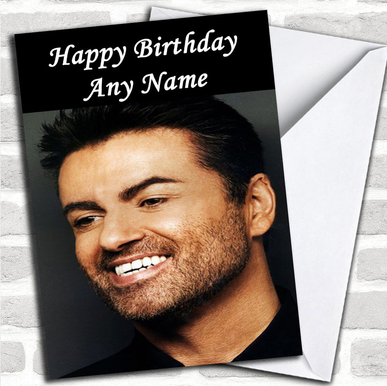 George Michael Smiling Personalized Birthday Card