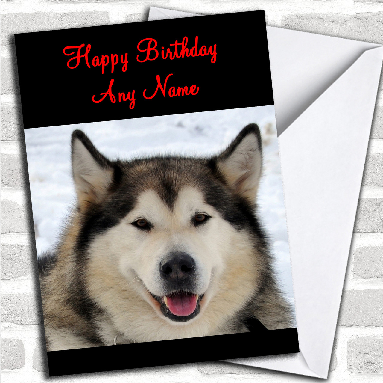 Alaskan Malamute Dog In The Snow Personalized Birthday Card