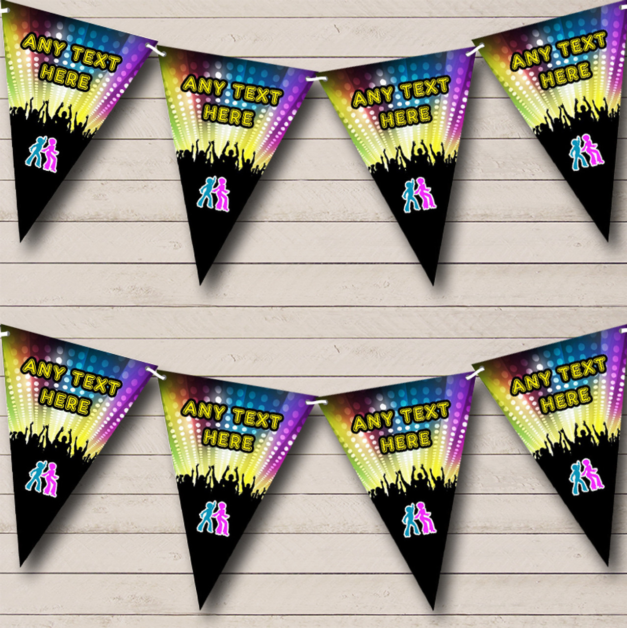 60's 70's 80's Disco Dance Personalized Birthday Party Bunting Flag Banner