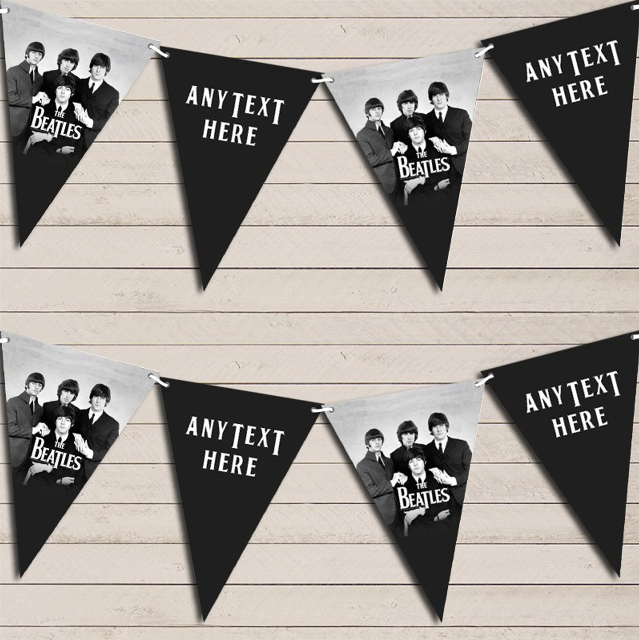The Beatles Birthday Bunting Garland Party Banner Red Heart Print