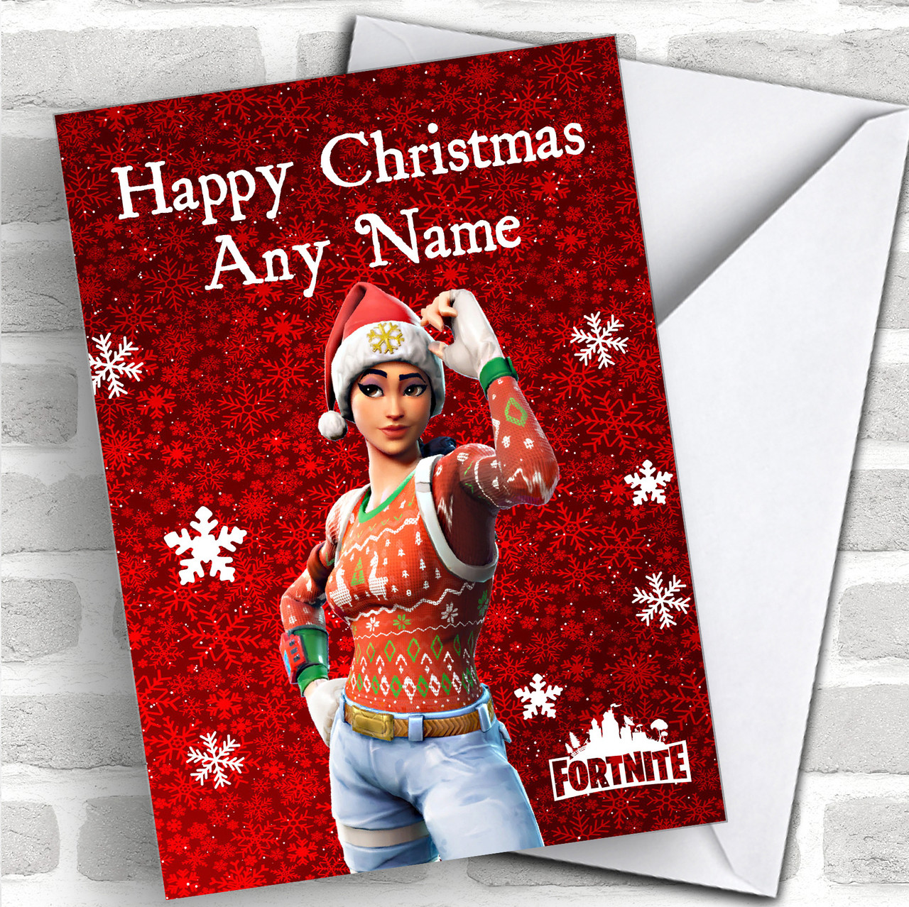 Red Fortnite Game Personalized Children\'s Christmas Card - Red Heart ...