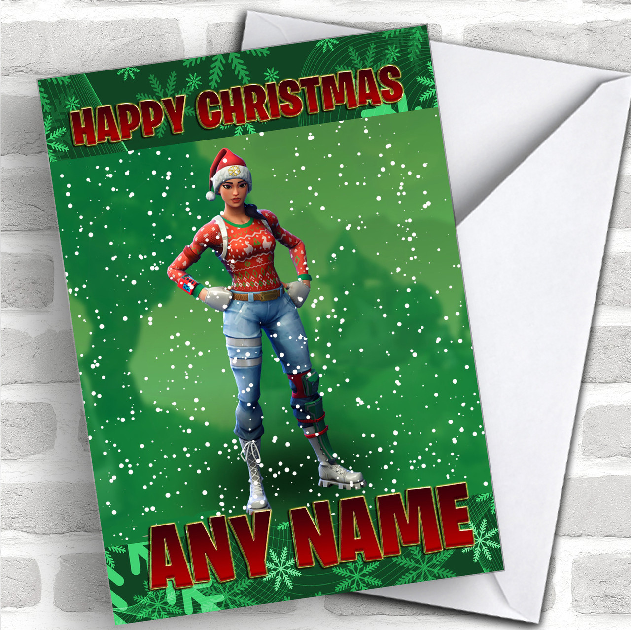 Nog Ops Fortnite Personalized Children\'s Christmas Card - Red Heart ...