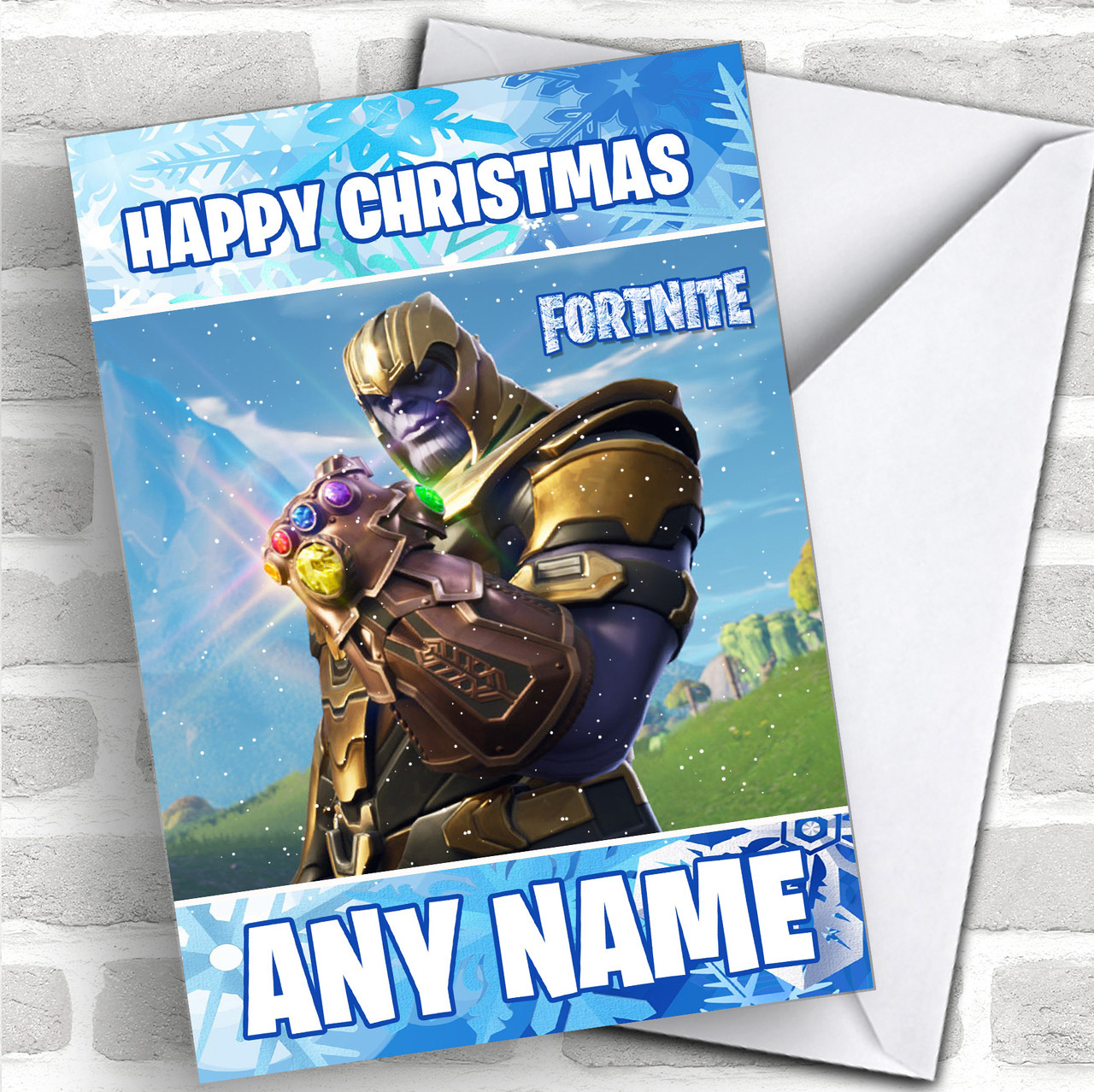 Fortnite Thanos Personalized Children S Christmas Card Red Heart Print