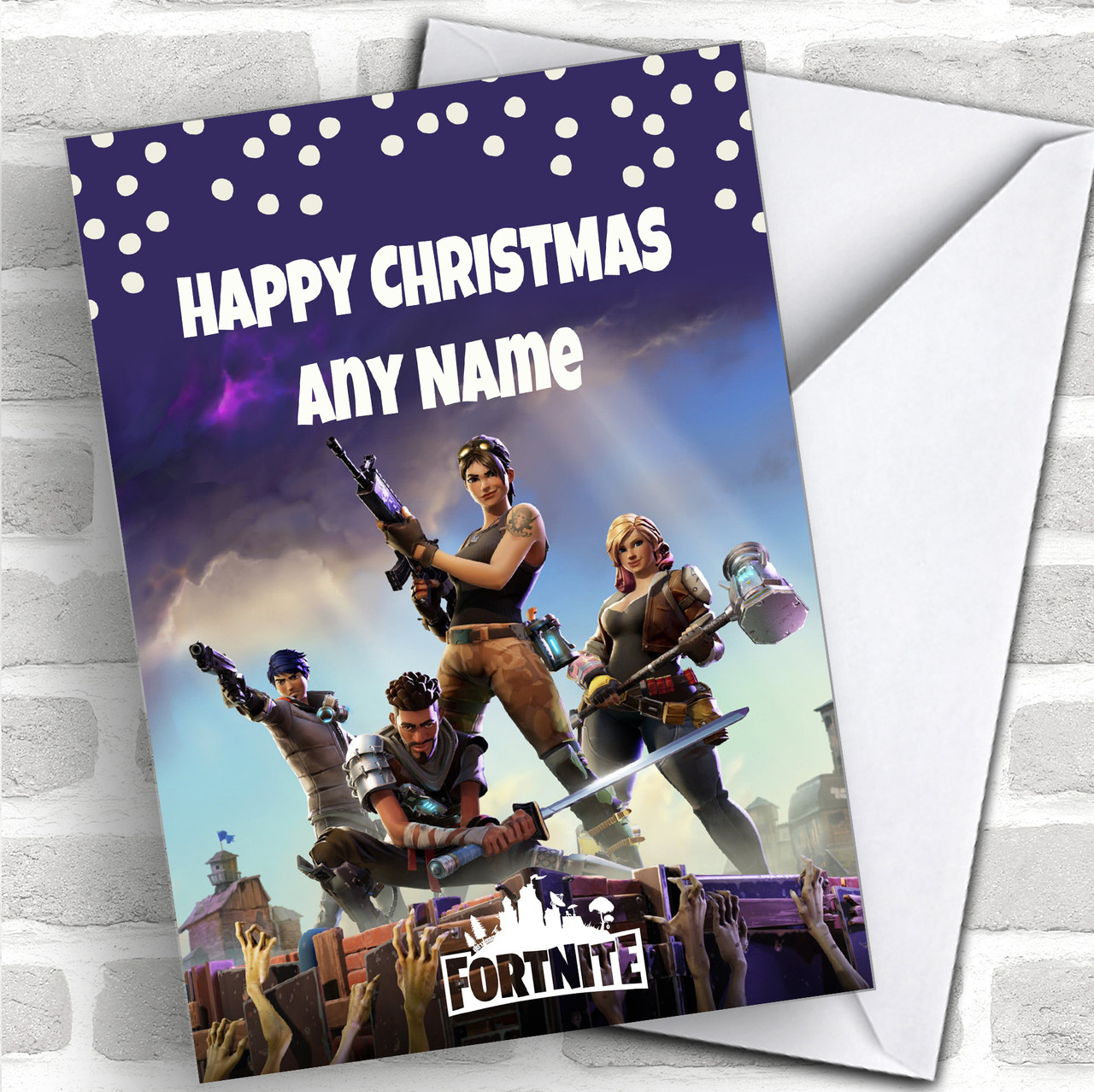 Fortnite Personalized Children\'s Christmas Card - Red Heart Print