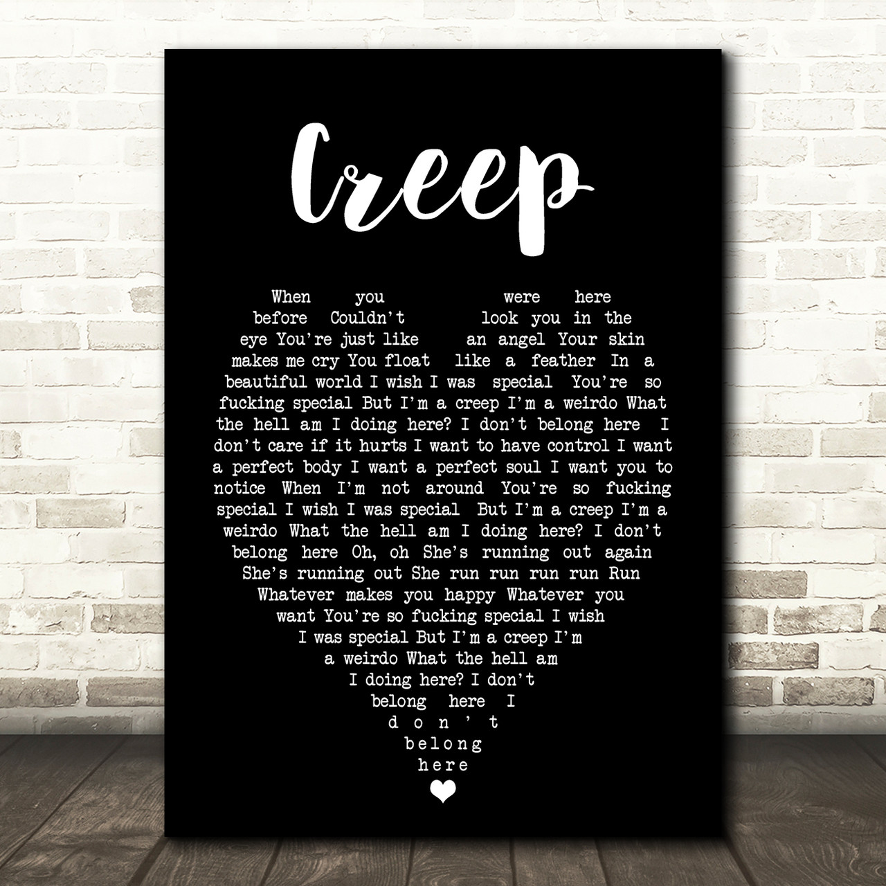 Creep Script Quote Song Lyric Print