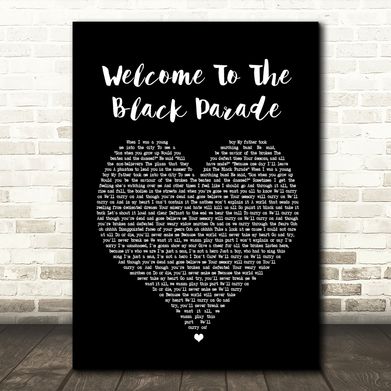 My Chemical Romance Welcome To The Black Parade Black Heart Song Lyric Print Red Heart Print