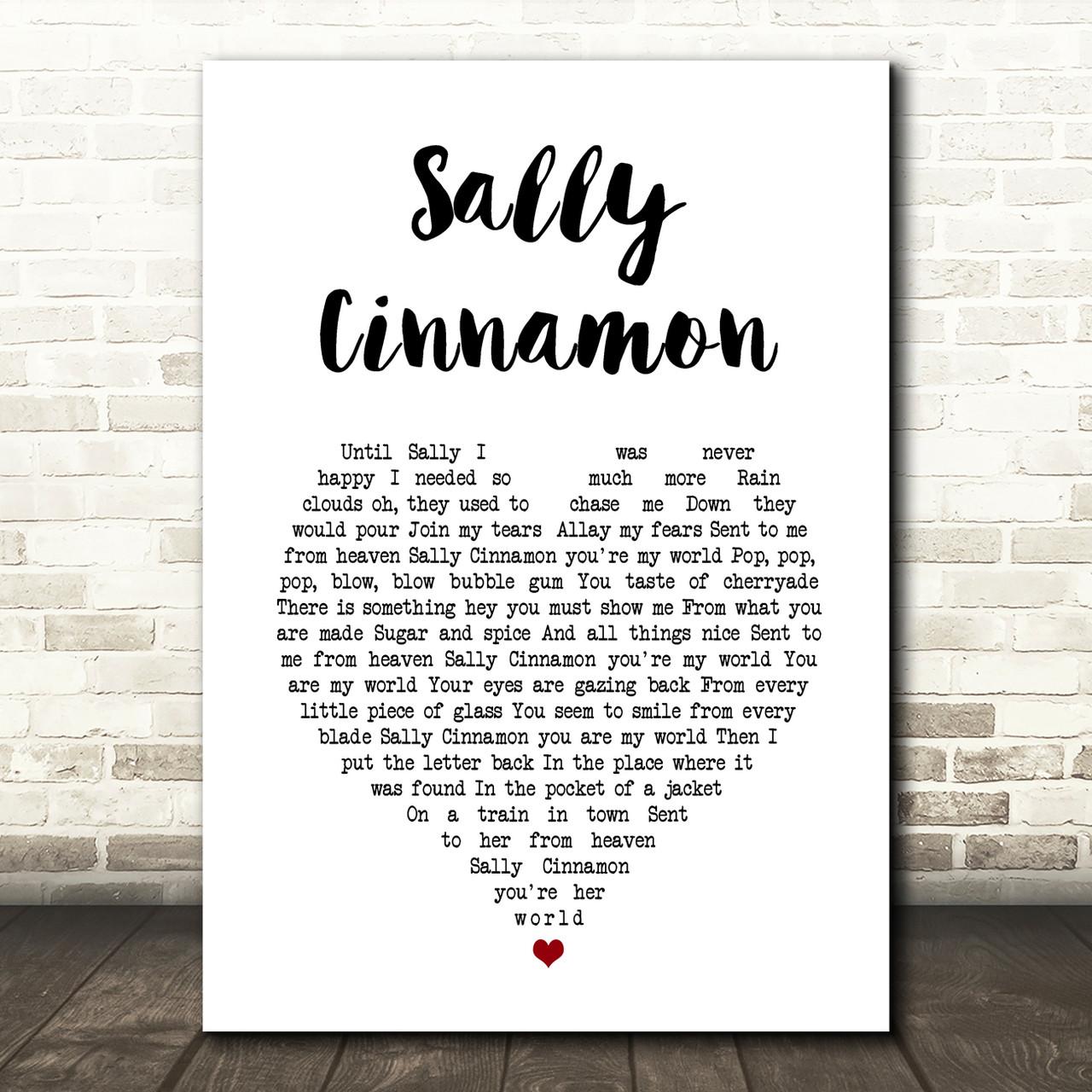 Sally Cinnamon Vinyl Record Song Lyric Quote Print