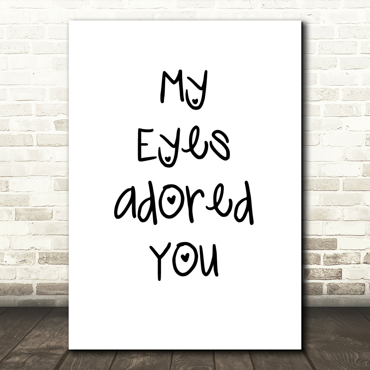 My Eyes Adored You Grey Heart Song Lyric Quote Print