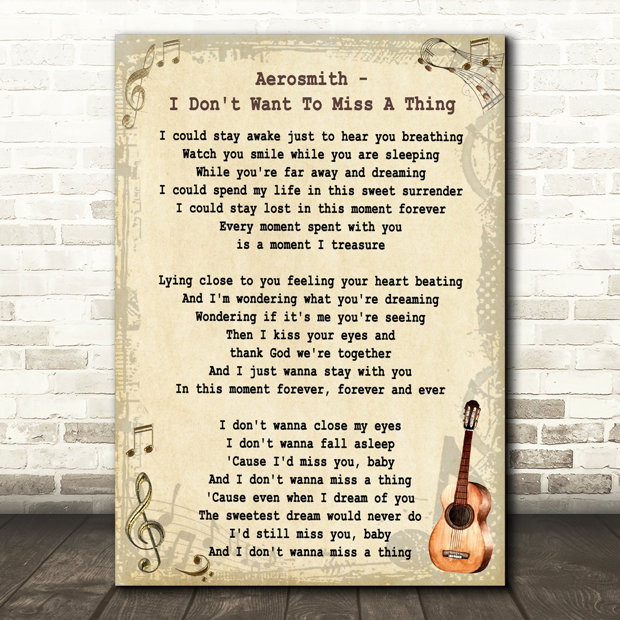 Aerosmith I Don't Want To Miss A Thing Song Lyric Vintage Quote Print