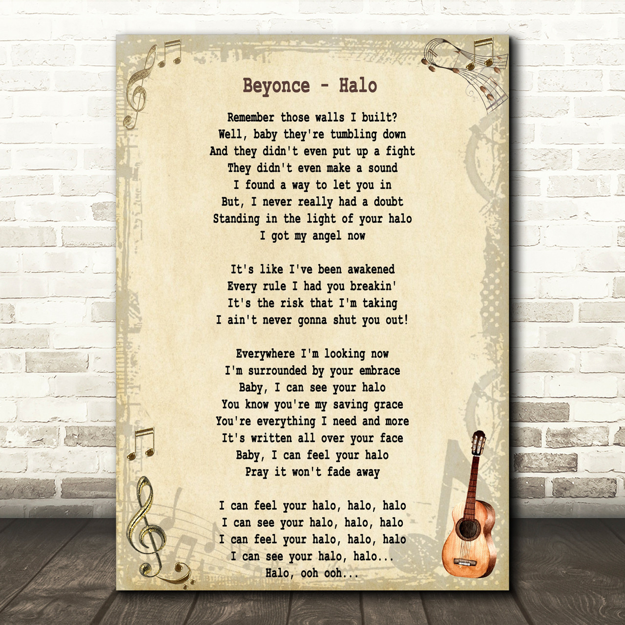 Any Song Lyrics Print Burlap /& Lace Valentines Birthday Anniversary Gift Present