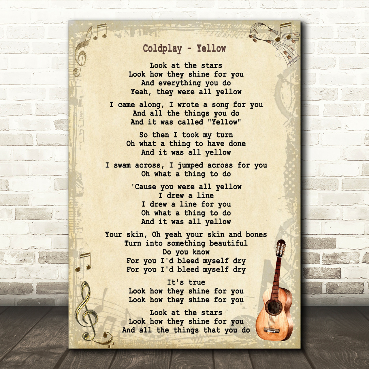 Coldplay Yellow Song Lyric Vintage Quote Print Red Heart Print