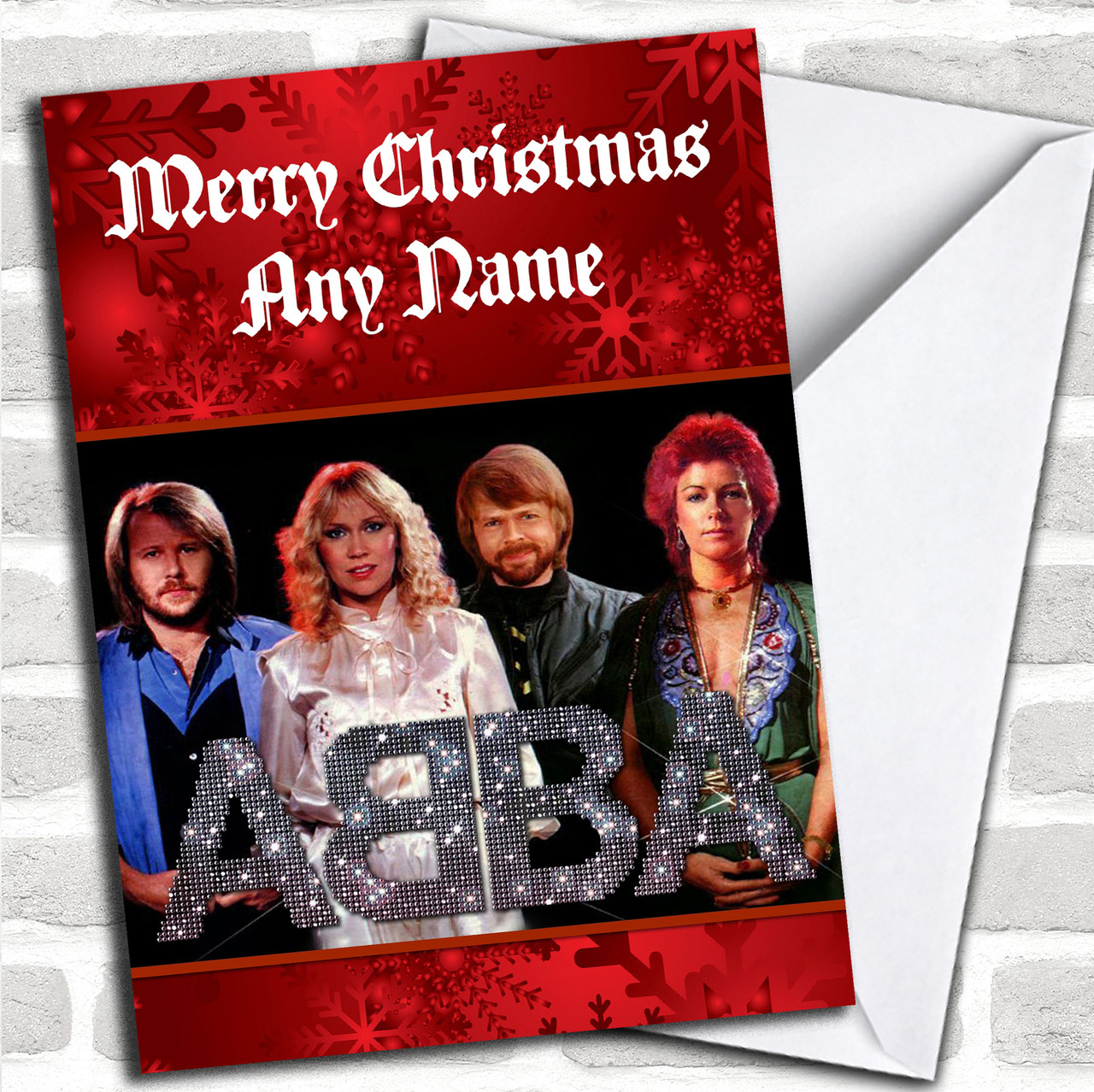 Abba Personalized Christmas Card - Red Heart Print