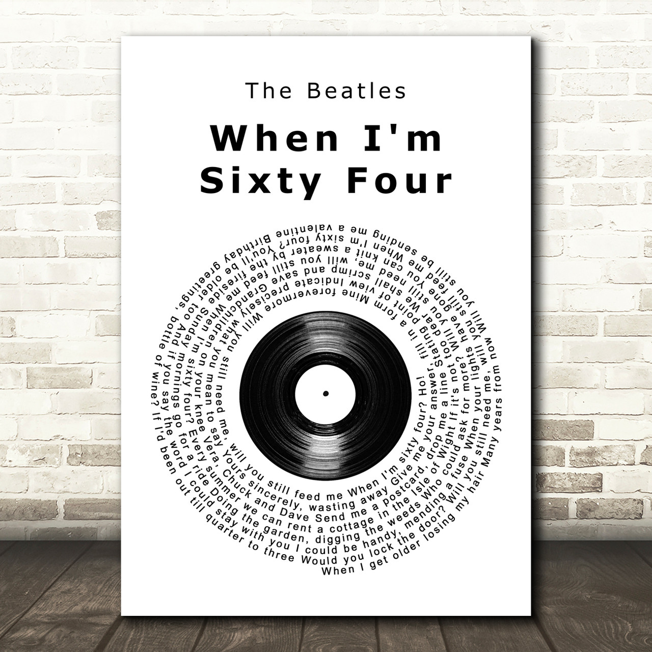 The Beatles When I M Sixty Four Vinyl Record Song Lyric Quote Print Red Heart Print
