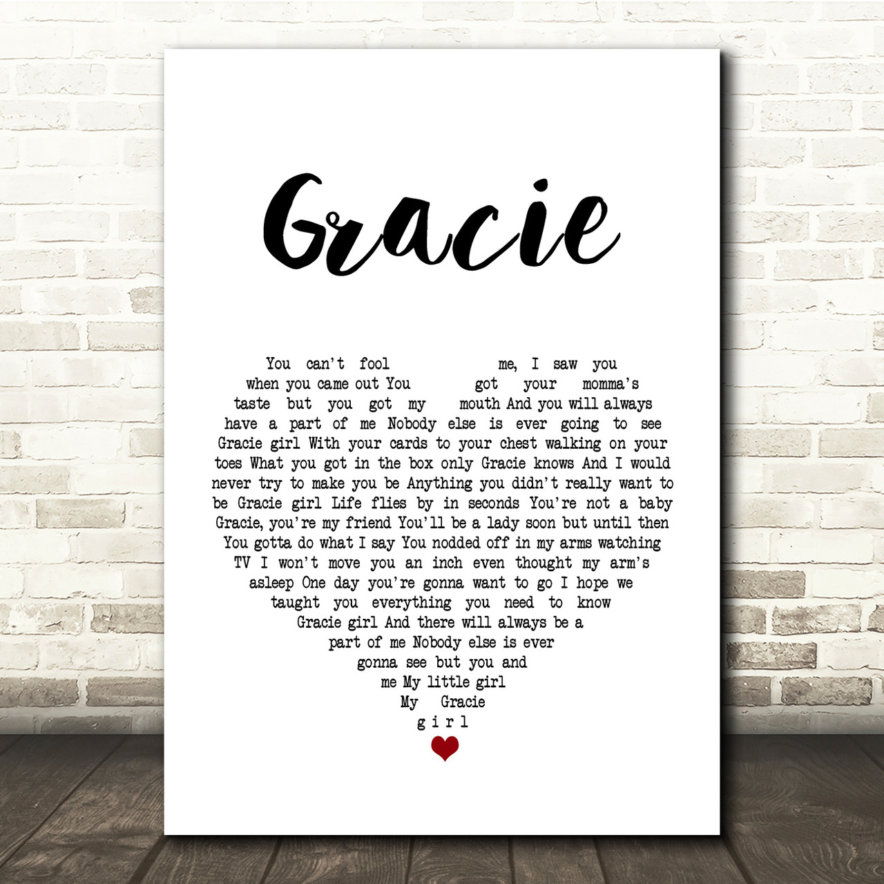 Gracie Script Heart Song Lyric Quote Print