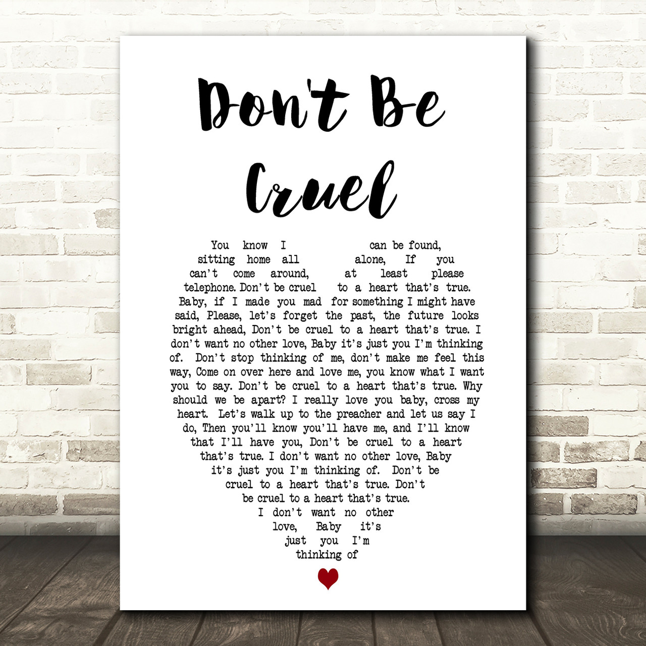 Elvis Presley Don T Be Cruel Heart Song Lyric Quote Print Red Heart Print