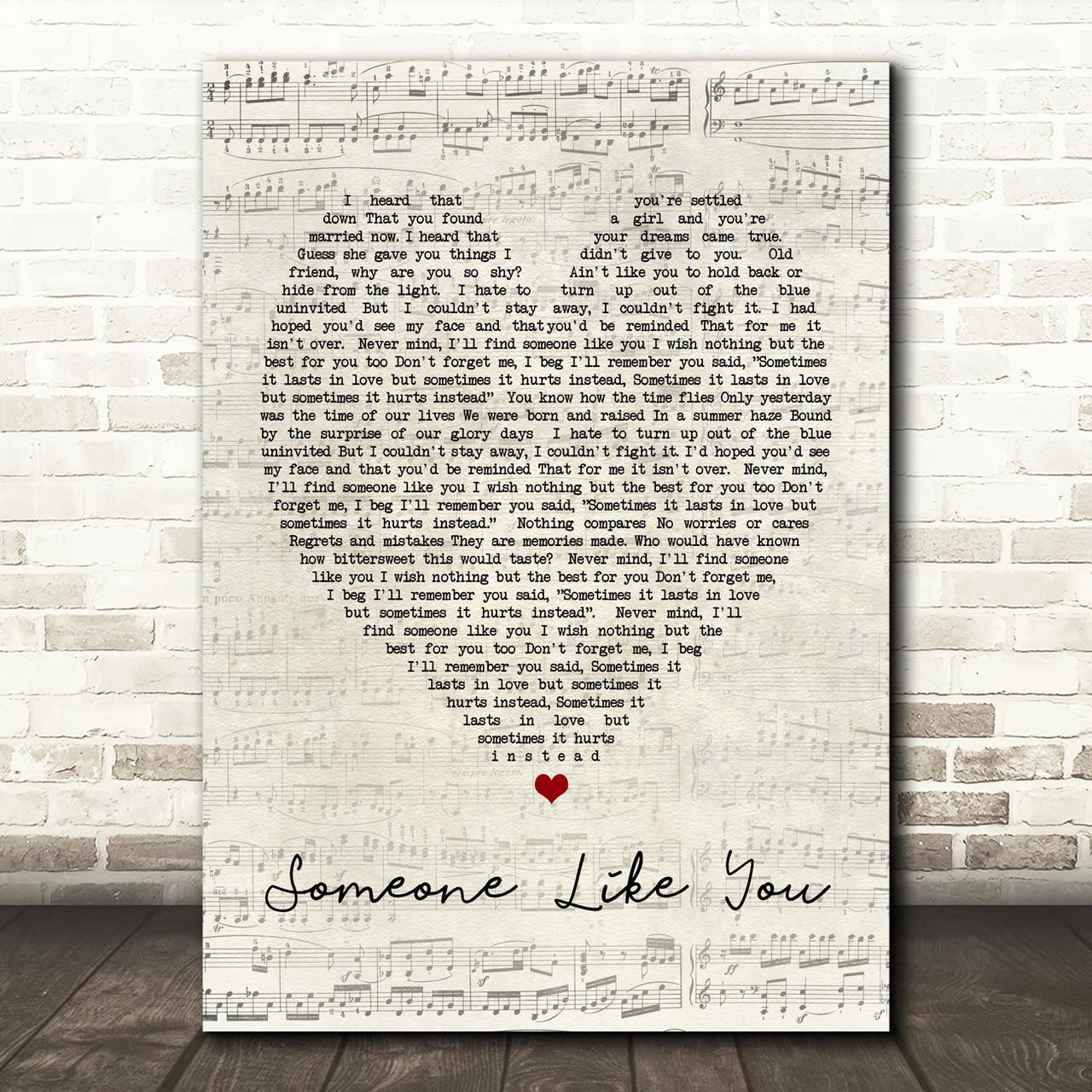 Someone Like You Adele Script Heart Song Lyric Print Red Heart Print