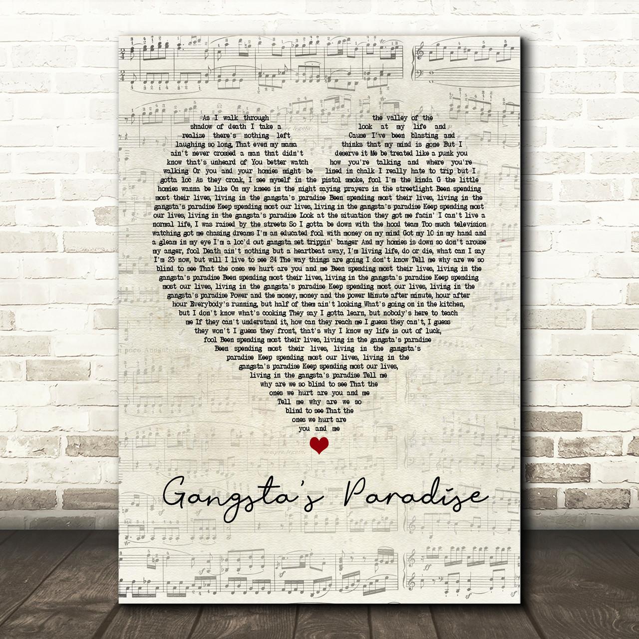 Coolio Gangsta S Paradise Script Heart Song Lyric Print Red Heart Print