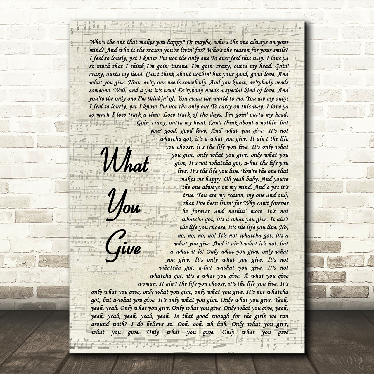 Tesla What You Give Song Lyric Vintage Script Print