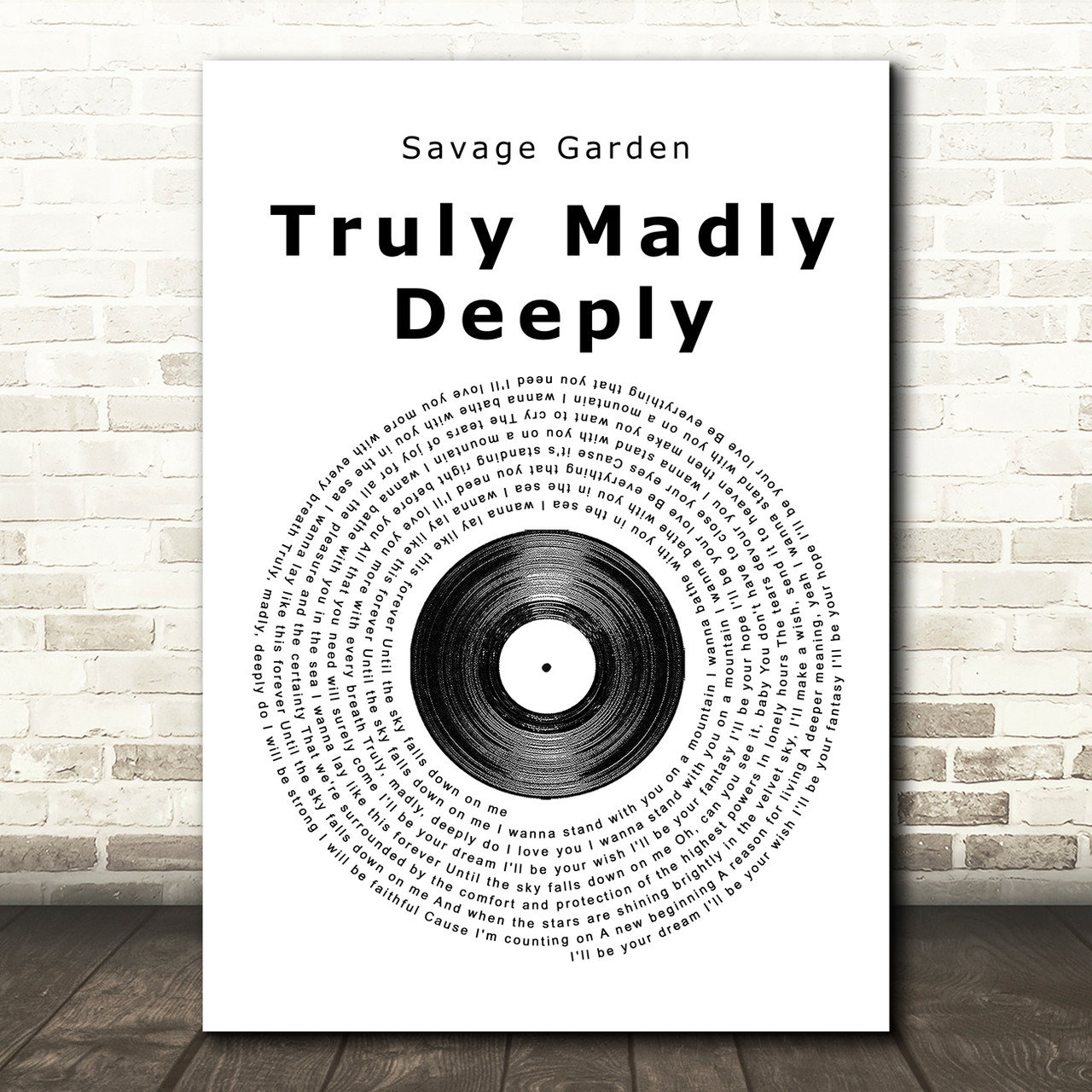 Truly Madly Deeply Man Lady Dancing Song Lyric Quote Print