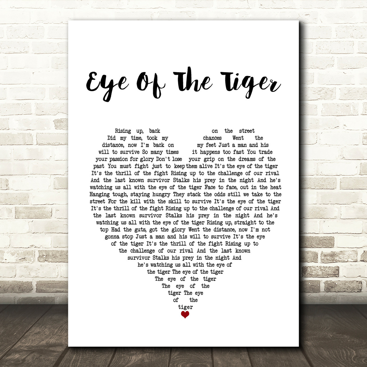 Eye Of The Tiger White Script Song Lyric Quote Print