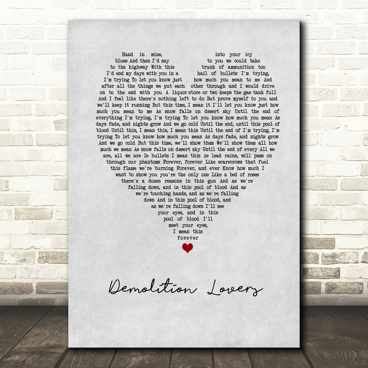 My Chemical Romance Demolition Lovers Grey Heart Song Lyric Music Print Red Heart Print