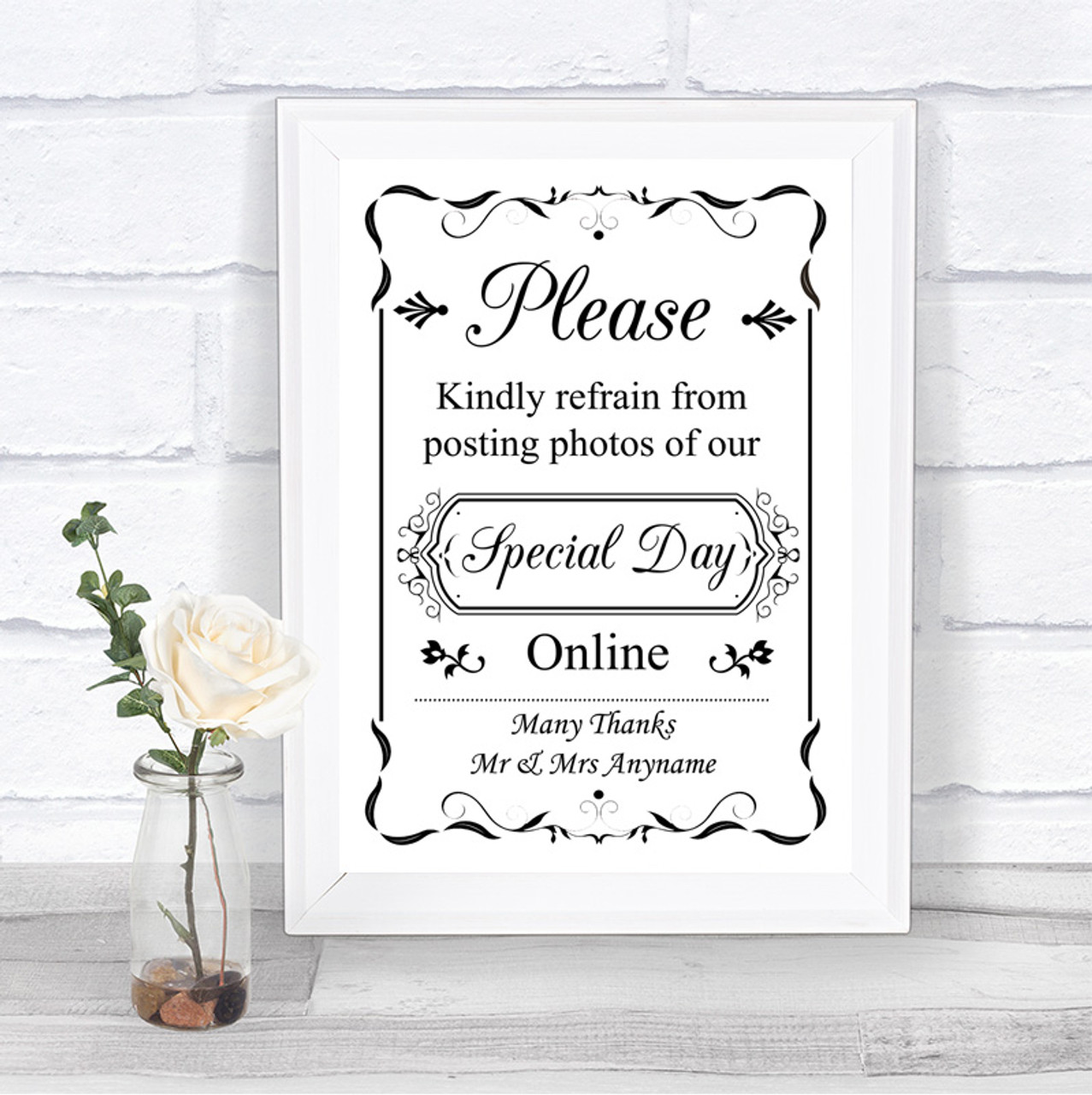 Parties etc white//ivory for weddings Botanical Personalised Reserved Signs