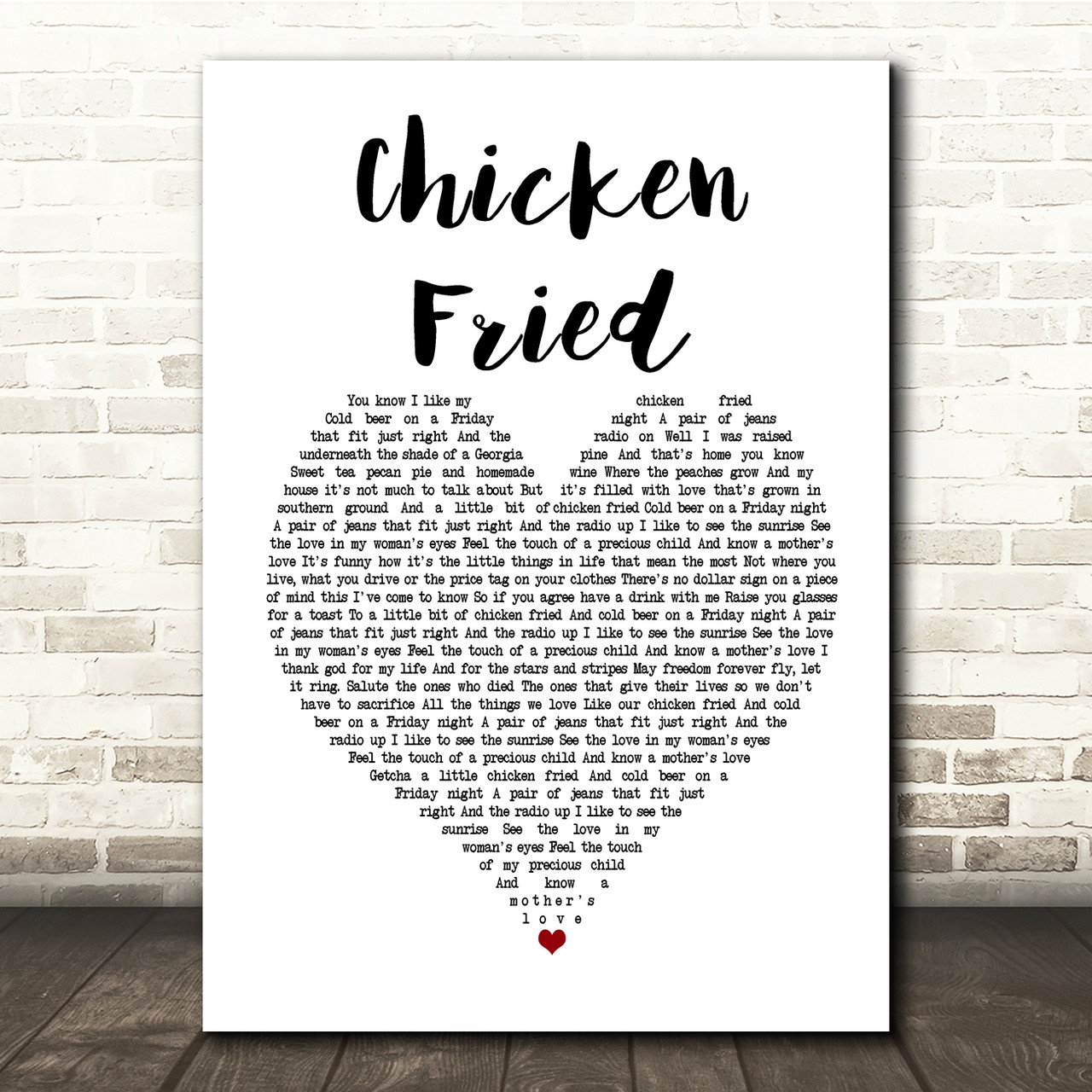 Zac Brown Band Chicken Fried White Heart Song Lyric Music Print Red Heart Print