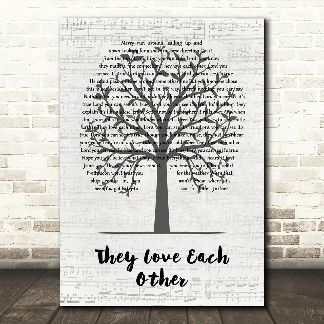 Grateful Dead They Love Each Other Music Script Tree Song Lyric Quote Music Poster Print Red Heart Print