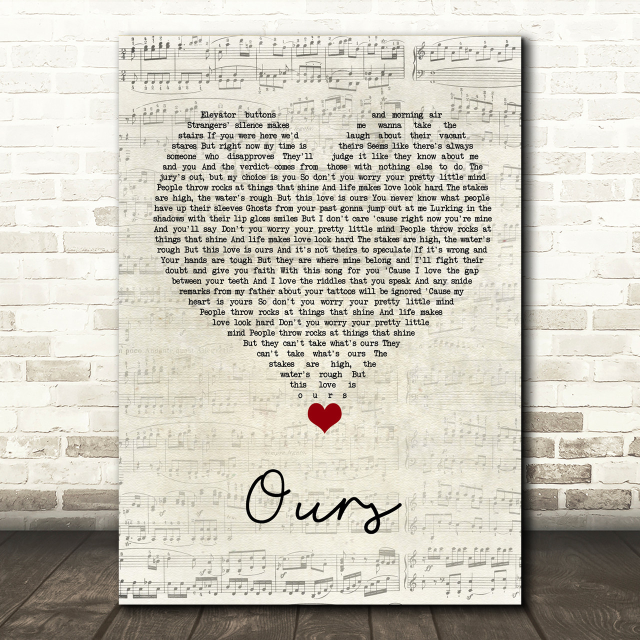Taylor Swift Ours Script Heart Song Lyric Quote Music Poster Print Red Heart Print