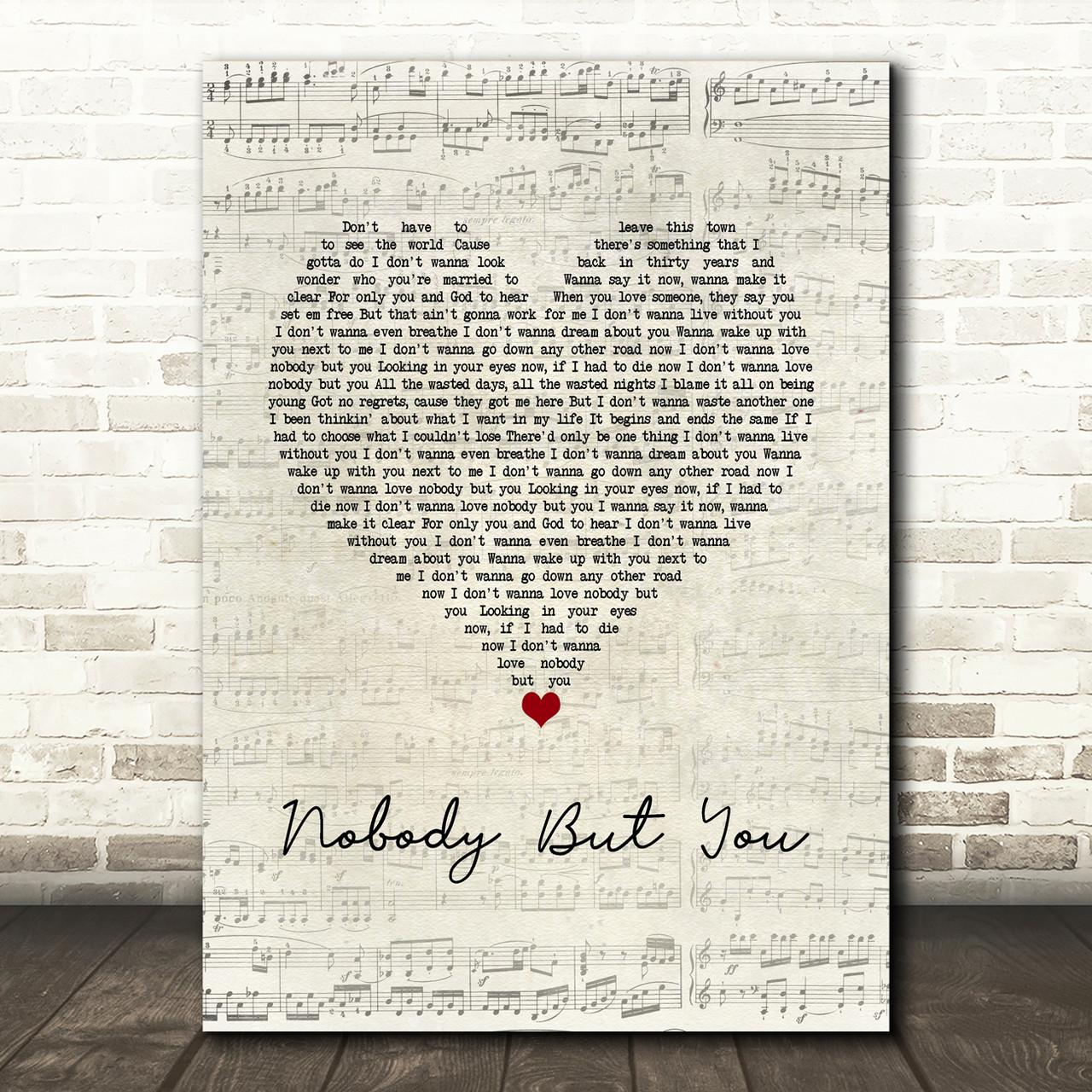 Blake Shelton Nobody But You Script Heart Song Lyric Wall Art Print Red Heart Print Blake shelton lyrics nobody but you (feat. red heart print