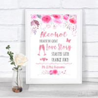 Gold /& Pink Stripes Cheers To Love Personalised Wedding Sign