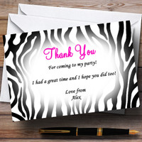 Zebra Print Red Text Personalized Party Thank You Cards