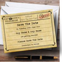 Vintage Telegram Elegant White Personalized Wedding Thank You Cards