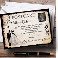 Black /& Yellow Swirl Deco Personalized Wedding Thank You Cards